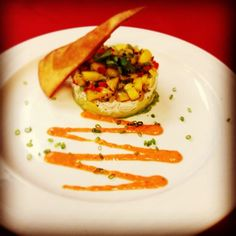 Appetizer Special: Avocado Crab Stack with mango salsa and roasted red pepper sauce