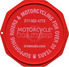 The Original Custom Imprinted Motorcycle Coaster® Red Motorcycle, White Ink, Coasters, Messages, Prints, Plate, Check, Design, Color