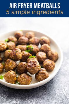 Air fryer meatballs are crisp and browned on the outside, and so juicy on the inside! Cook them up from fresh or frozen in minutes. Air Fryer Fries, Air Frier Recipes, White Plates, Crisp, Frozen, Rolls, Veggies, Sweet Peas, Beef