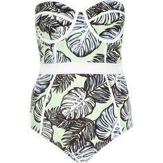 River Island Green palm tree print mesh insert swimsuit (290 SEK) ❤ liked on Polyvore featuring swimwear, one-piece swimsuits, swimsuits, bathing suits, bikini, swim, sale, green one piece swimsuit, green bikini and tall swimsuits