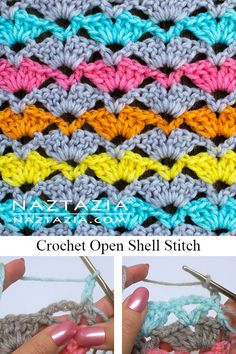 Here's a neat crochet open shell stitch pattern that has two alternating shell stitches within it. This shell stitch works nice for a scarf or a blanket. Crochet Shell Pattern, Crochet Motifs, Crochet Diagram, Crochet Stitches Patterns, Crochet Designs, Stitch Patterns, Knitting Patterns, Crochet Afghans, Different Crochet Stitches