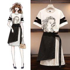 Fashion Drawing Dresses, Fashion Illustration Dresses, Korean Girl Fashion, Korea Fashion, Fashion Design Drawings, Fashion Sketches, Desire Clothing, Kpop Fashion Outfits, Kawaii Clothes