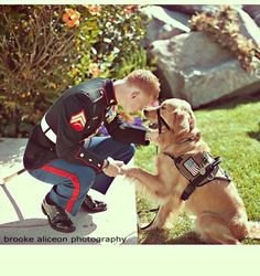 Wounded Warrior Service Dog, with Marine. ///// This is the kinda stuff that makes me appreciate soldiers and animals so much at the same time!!!