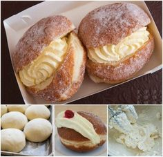 You will love this easy and delicious homemade Kitchener Buns Recipe and it really is better than the Bakery. Get the details now! Donut Recipes, Cake Recipes, Dessert Recipes, Cream Bun, Ma Baker, Kolaci I Torte, Bun Recipe, Yummy Recipes, Crack Crackers