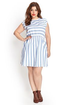 "Would be cute as a ""Dorothy"" costume with a different twist  Striped Fit & Flare Dress 
