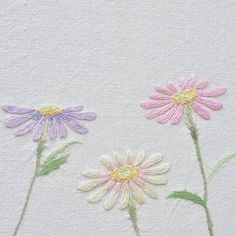 #aster #chrysanthemum - Cute, light embroidery.