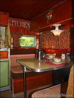 "vintage caravans 49117452160943581 - the dinette in the ""road runner"" Source by mratlief"