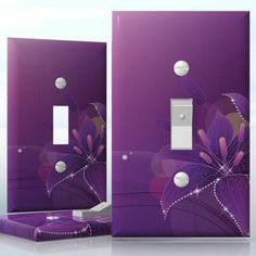 DIY Do It Yourself Home Decor - Easy to apply wall plate wraps | Shining Lilies  Purple and silver flowers  wallplate skin sticker for 1 Gang Toggle LightSwitch | On SALE now only $3.95