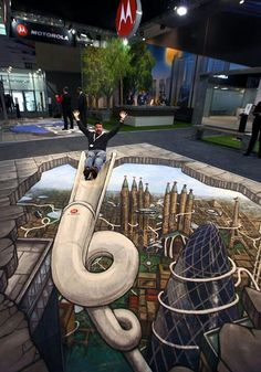 3D street art, optical illusion