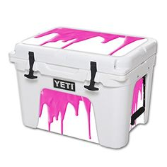 MightySkins Protective Vinyl Skin Decal for YETI Tundra 35 qt Cooler wrap cover sticker skins Pink Drip ** Click on the image for additional details.(This is an Amazon affiliate link and I receive a commission for the sales)