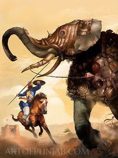 Bhai Bachittar Singh Jee fighting with an drunk elephant in the battlefield