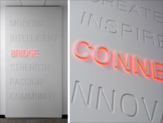 Wall Graphics Typography 67 Ideas For 2019 Office Signage, Wayfinding Signage, Signage Design, Booth Design, Wall Design, Design Design, Display Design, Environmental Graphic Design, Environmental Graphics