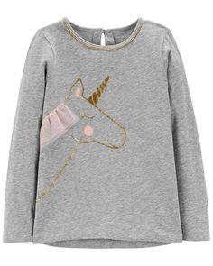 Big Girls Ivory Long Sleeve Gold Sequin Unicorn Sweater