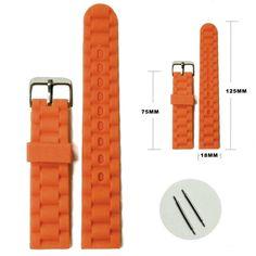 18ミリメートルオレンジカラーシリコンゼリーゴムレディース男性時計バンドストラップWB1060H18JB
