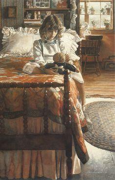 """""""Country Bedroom""""  -   watercolor by Steve Hanks"""