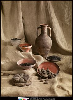 abbevillepress:  One of the amazing finds from Herculaneum: preserved food from 79A.D. Pottery and carbonized food: bread, peas, figs, fava...