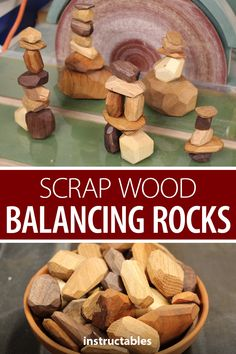 Make scrap wood balancing rocks for Tumi ishi, a Japanese game of stacking wooden rocks. Scrap Wood Projects, Wood Projects For Kids, Kids Wood, Art Projects, Easy Woodworking Ideas, Woodworking Toys, Woodworking Projects, Scrap Wood Art, Scrap Wood Crafts