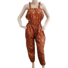 Vintage Orange Dress Polyester Fabric Indian Dress by VintageHaat, $16.99