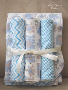 Baby Gift Set! Reversible Flannel Blanket with 3 Flannel and Chenille Burp Cloths - Elephant and Chevron Design! #bestofEtsy #gifts