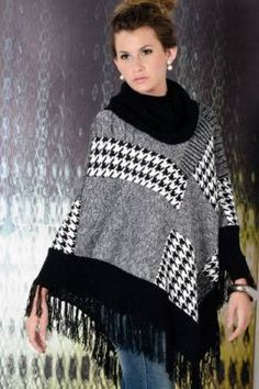 Moda todo o ano: ponchos de tricô