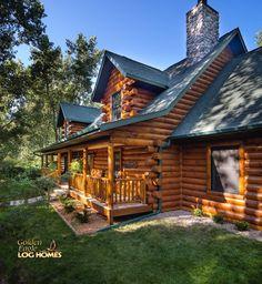 Log Home By Golden Eagle Log Homes - Exterior 2- Rear (Road side)