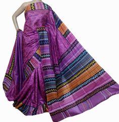Multicolor Hand Block Printed Silk Saree