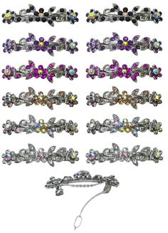 Dozen Pack of 12 Barrettes with French Clip Clasp and Sparkling Stones U86250-1366-D1 * For more information, visit image link.