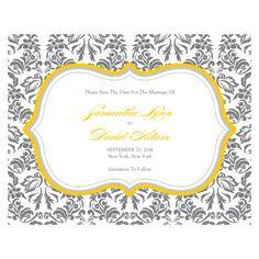 Love Bird Damask Wedding Invitations (Saffron Yellow