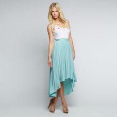 duo high-low dress, blush shoes