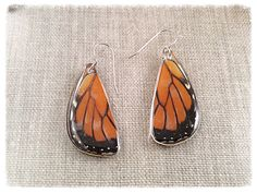 Butterfly Earrings Real Wing Jewelry- Monarch- Orange and Black- Hand Cut Butterfly Wing Earrings; Butterfly Earrings, Butterfly Wings, Wing Earrings, Drop Earrings, Boho Jewelry, Unique Jewelry, Bird Perch, Trending Outfits, Handmade Gifts