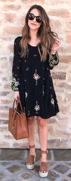 spring fashion Black Printed Dress & Brown Leather Tote Bag
