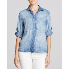 Bella Dahl Split Back Button Down Shirt ($174) ❤ liked on Polyvore featuring tops, kaya, cutoff shirt, shirts & tops, button up shirts, button down tops and button back shirt