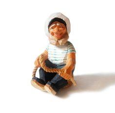 Henning Norway Sailor Hand Carved Wood Figurine Sea Captain Skipper Scandinavian Folk Art