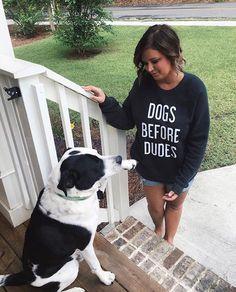 "Lovely customer @rah.verde in #thetreekisser ""Dogs Before Dudes"" pullover!"