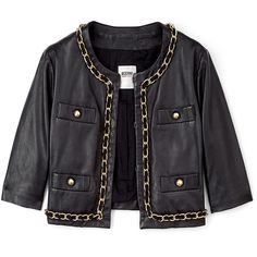 Moschino Cheap & Chic Black Crop Leather Chain Detail Jacket (360 AUD) ❤ liked on Polyvore featuring outerwear, jackets, tops, coats, leather jackets, cropped jacket, genuine leather jackets, pocket jacket and real leather jackets