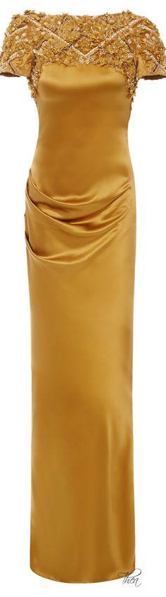 Marchesa ● Fall 2014, Saffron Silk Crepe Gown