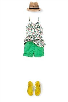 Country Road-Thistle Smock, Poplin Short, Trilby and Jelly Sandal- great outfit!