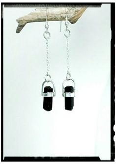 Black Tourmaline Earrings Set in 925 by EnchantedCrystalDsgn Tourmaline Earrings, Black Tourmaline, Crystal Design, Crystal Earrings, Sterling Silver Chains, Crystal Healing, Enchanted, Earring Set, Dog Tag Necklace