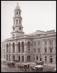 Adelaide Town Hall and Aldridge's Prince Alfred Hotel, 1890 - Adelaide Town Hall is a landmark building on King William Street in Adelaide, South Australia. The structure was designed by Edmund Wright and Edward Woods, with construction commencing in 1863 and completed in 1866. The tower is named after Prince Albert and the clock was installed in 1935.