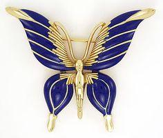 Fab Vintage Royal Blue Crown Trifari Enameled Butterfly Brooch   eBay