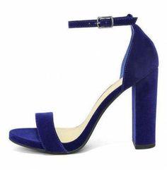 Designer Clothes, Shoes & Bags for Women Blue Velvet Heels, Velvet Shoes, Blue Pumps, Navy Blue Sandals, Navy High Heels, Cute High Heels, Navy Blue Heels Wedding, Ankle Strap Shoes, Strap Heels