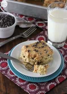 Banana Chocolate Chip Snack Cake with Peanut Butter Frosting from @akitchenaddict