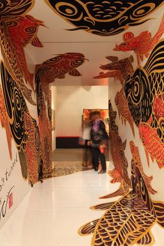 Hideki Kimura's folding screen exhibition – Graffiti World Graffiti Murals, Art Mural, Wall Murals, Japanese Garden Design, Japanese Interior, Japanese Gardens, Exterior Design, Interior And Exterior, Art Wall Kids
