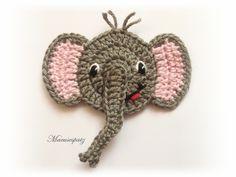 Häkelapplikationen - Elefant Häkelapplikation - ein Designerstück von Maeusespatz bei DaWanda Marque-pages Au Crochet, Crochet Easter, Crochet Preemie Hats, Crochet Mignon, Crochet Turtle, Crochet Teddy, Crochet Unicorn, Crochet Motifs, Crochet Bunny