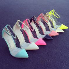 Clear the Way pointy toe pumps. Heels omg I want them all the black and yellow ones though CL wore and I need them.