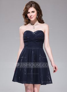 Homecoming Dresses - $99.99 - A-Line/Princess Sweetheart Short/Mini Chiffon Sequined Homecoming Dress With Ruffle Beading (017030907) http://jjshouse.com/A-Line-Princess-Sweetheart-Short-Mini-Chiffon-Sequined-Homecoming-Dress-With-Ruffle-Beading-017030907-g30907