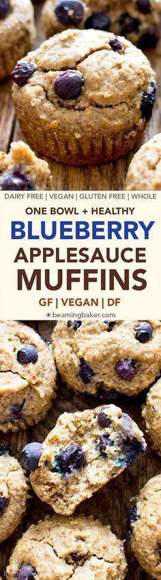 Gluten Free Vegan Blueberry Applesauce Muffins (V, GF, DF, Oat Flour, Refined Sugar-Free) - Beaming Baker