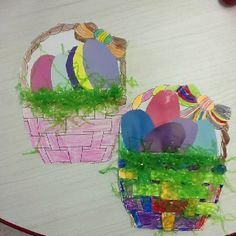 Paint Chip Eggs-We traced an egg shape onto paint chips and cut them out.