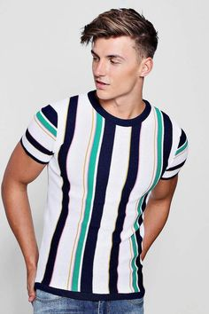 boohoo Vertical Stripe Colour Block Knitted Muscle Fit T-Shirt Vertical Striped Shirt, Striped Tee, Vertical Stripes, Trendy Mens Fashion, Stylish Mens Outfits, Gents T Shirts, Cardigan Fashion, Vogue, Mens Clothing Styles
