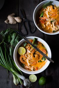 Fast and flavorful, this 15 Minute Northern Style, Thai Coconut Noodle Soup called, Khao Soi is so easy to make! A rich fragrant broth w/ either shrimp,tofu or chicken.